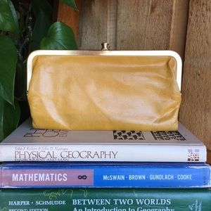 Vintage Mustard Yellow Wallet Clutch Gold Hardware